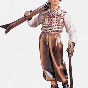 sciatore in legno anni 20  della val di Fassa scolpito in legno  di tiglio o cirmolo