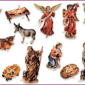 Presepe Zulian - dipinto ad olio  pastorella con capretto in ambientazione e pastore con agnelli