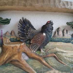 bassorilievo-altorilievo 65cm- gallo #cedrone nel bosco- tiglio ad olio  scultore- Ivo Zulian Soraga TRENTINO dolomites